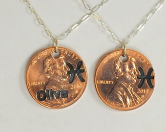 Pisces Necklace, Pisces Pendant, Birthday Necklace, Birthday Necklace, Pisces Birthday, Lucky Penny, Penny Necklace, Birthday Gift, Pisces