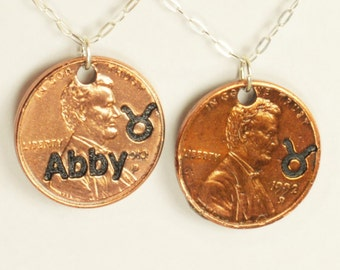 Taurus Necklace, Taurus Pendant, Birthday Necklace, Birthday Necklace, Taurus Birthday, Lucky Penny, Penny Necklace, Birthday Gift, Taurus