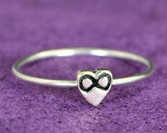 Silver Infinity Ring, Monogram Heart Ring, Silver Heart Ring, Personalized Heart Ring, Sterling Heart Ring, Silver Ring, Monogram  Ring