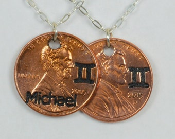 Gemini Necklace, Gemini Pendant, Birthday Necklace, Birthday Necklace, Gemini Birthday, Lucky Penny, Penny Necklace, Birthday Gift, Gemini