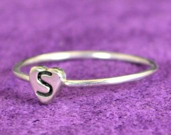 Initial Heart Ring, Monogram Heart Ring, Silver Heart Ring, Personalized Heart Ring, Sterling Heart Ring, Initial Ring, Silver Monogram Ring
