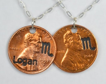 Scorpio Necklace, Scorpio Pendant, Birthday Necklace, Birthday Necklace, Scorpio Birthday, Lucky Penny, Penny Necklace, Birthday Gift