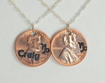 Capricorn Necklace, Capricorn Pendant, Birthday Necklace, Birthday Necklace, Capricorn Birthday, Lucky Penny, Penny Necklace, Birthday Gift