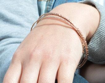 Thin Copper Bangle, Tree Bark Bangle, Thin Bangle, Stacking Bangles, Pure Copper Bangle, Copper bracelet, stacking bangle, copper bangle
