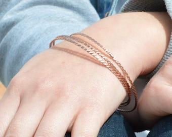 Thin Copper Bangle, Copper Twist Bangle, Thin Bangle, Stacking Bangles, Pure Copper Bangle, Copper bracelet, stacking bangle, Copper bangle