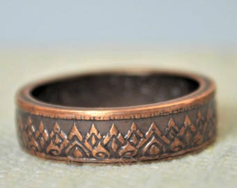 Thailand Coin Ring, Thai coin ring, Brown Ring, Crown Ring, Coin Ring, Thailand Art, Coin Jewelry, Bohemian Ring, Thailand, Bronze Coin Ring