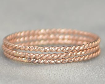 Rose Gold Spiral Rings, 14k Rose Gold Filled, Stacking Ring, Boho Stacking Rings, Ring Gold, Rustic Gold Rings, Thin Rose Gold Ring, Alari
