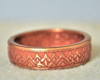 Thailand Coin Ring, Thai coin ring, Dusky Rose Ring, Crown Ring, Coin Ring, Thailand Art, Coin Jewelry, Bohemian Ring, Thailand, Bronze Coin