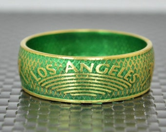 Green Los Angeles Coin Ring, Green Ring, LA Coin Ring, Gift, Unusual Ring, Coin Ring, Brass Ring, Coin Art, Los Angeles, Art Brass Band