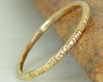 14k  Gold Bohemian Ring, Rustic Wedding Ring, Heirloom Quality, Classic 14k Gold Ring, Gold Boho Ring, Rustic Gold Rings, Gold Band, G5