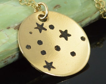 14k Gold Filled Aquarius Necklace, Gold Aquarius Necklace, Gold filled, Aquarius Constellation, Star Jewelry, Zodiac Necklace, Zodiac