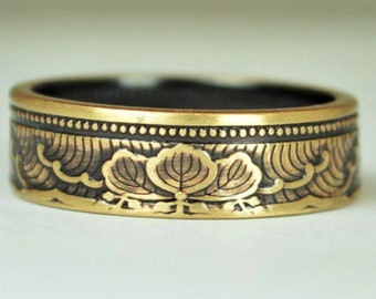 Japanese Coin Ring, Bronze Ring, Wave Ring, Japanese Art, Brass Ring, Bronze band. unique ring, bohemian ring, Art nouveau, 21st anniversary