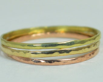 Solid Green, Rose & Yellow Gold Super Thin Stack Ring Set, 14k Gift For Wife, Slim Ring, Triple Gold Ring, Ultra Thin Ring, 14k Green Gold