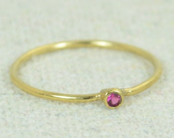 Tiny Ruby Ring, Ruby Stacking Ring, Gold Filled Ruby Ring, Ruby Mothers Ring, July Birthstone, Ruby Ring, Dainty Ruby, Dainty Gold Ring