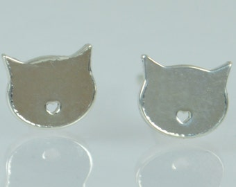 Cat Earrings, Silver Cat Earrings, Small Cat Earrings, Simple Earrings, Halloween Gift, Kitty Earrings, Cat Jewelry, Halloween Earrings