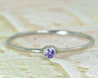Tiny Amethyst Ring Set, Solid White Gold Wedding Set, Amethyst Stacking Ring, White Gold Amethyst Ring, Bridal Set, February Birthstone