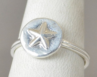 Star Ring, Silver Star Ring, Bohemian Ring, Statement Ring, Silver Ring, Sterling Ring, Stacking Ring, hippie ring, Abstract Ring, Fun Ring