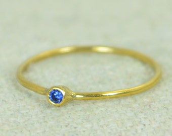 Tiny Sapphire Ring, Sapphire Stacking Ring, Gold Filled Sapphire Ring, Sapphire Mothers Ring, September Birthstone, Gold Sapphire Ring