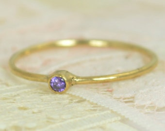 Tiny Amethyst Ring Set, Solid 14k Gold Wedding Set, Amethyst Stacking Ring, Solid 14k Gold Amethyst Ring, Bridal Set, February Birthstone