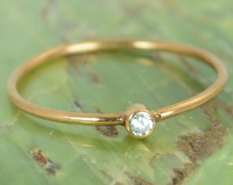 Tiny CZ Diamond Ring, Solid Rose Gold Diamond Stacking Ring, Solid 14k Gold Diamond Ring, Diamond Mothers Ring, April Birthstone, Diamond
