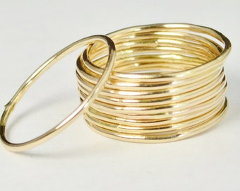 Thin Round Gold Stackable Ring, 14k Gold Filled, Stacking Rings, Dainty Gold Ring, Tiny Ring, Skinny Ring, Gold Filled Ring, Thin Gold Ring