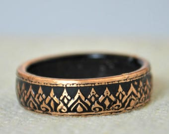 Black Coin Ring, Thailand Coin Ring, Black Ring, Crown Ring, Thailand Art, Black BoHo Ring, Coin Jewelry, Bohemian Ring, Thailand, Coin Ring