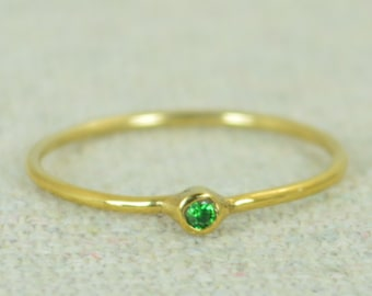 Tiny CZ Emerald Ring, Gold Filled Emerald Stacking Ring, Green Emerald Ring, Emerald Mothers Ring, May Birthstone, Emerald Ring, Filled Gold