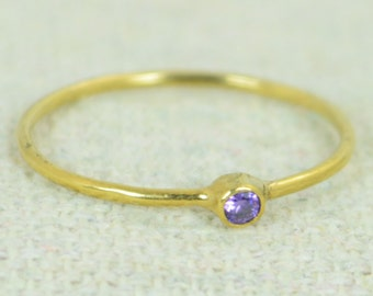 Tiny Amethyst Ring,  Gold Filled Amethyst Stacking Ring, Amethyst Ring, Amethyst Mothers Ring, February Birthstone, Amethyst Rings