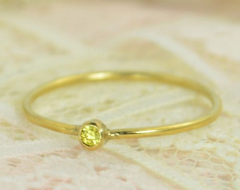 Tiny Citrine Ring Set, Solid 14k Gold Wedding Set, Stacking Ring, Solid 14k Gold Citrine Ring, November Birthstone, Bridal Set, Topaz Ring