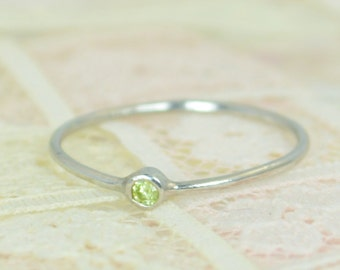 Tiny Peridot Ring Set, Solid White Gold Wedding Set, Stacking Ring, White Gold Peridot Ring, August Birthstone, Bridal Set, Gold Peridot