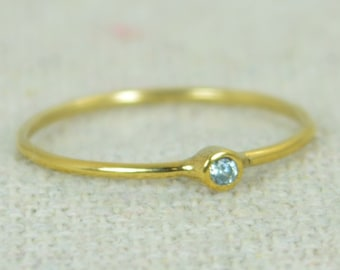 Tiny Aquamarine Ring, Gold Filled Aquamarine Stacking Ring, Gold Filled Aquamarine Ring, Mothers Ring, March Birthstone, Aquamarine Ring