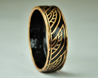 Black Thai Coin Ring, Wave Ring, Ray Ring, Thailand Coin ring, Coin Art, Thai Art, Thailand art, black ring, bronze ring, Coin ring, Bronze