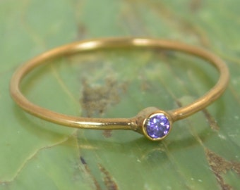 Tiny Amethyst Ring, Solid 14k Rose Gold Amethyst Stacking Ring, Amethyst Ring, Amethyst Mother's Ring, February Birthstone, Amethyst Rings