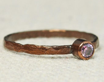 Bronze Copper Pink Tourmaline Ring, Classic Size, Stackable Rings, Mother's Ring, October Birthstone, Copper Jewelry, Pure Copper, Band
