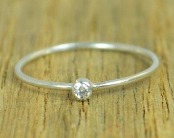 Tiny Diamond Ring, White CZ Diamond, Diamond Ring, Stacking Ring, April Birthstone, Minimal Diamond Ring, Dainty Diamond Ring, Mother's Ring