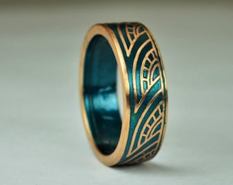 Turquoise Thai Coin Ring, Wave Ring, Ray Ring, Thailand Coin ring, Coin Art, Thai Art, Thailand art, Turquoise Ring, Bronze Ring, Coin Ring