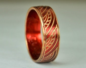 Red Thai Coin Ring, Wave Ring, Ray Ring, Thailand Coin ring, Coin Art, Thai Art, Thailand art, Red Ring, Bronze Ring, Coin Ring, Bronze
