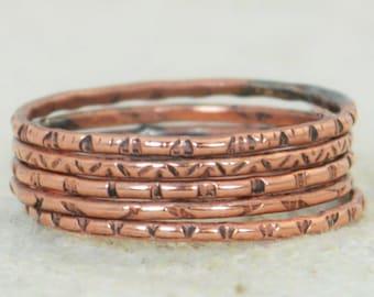 Set of 5 Copper BoHo Rings, BoHo Rings, Tribal Rings, Boho Stacking Rings, Rustic Copper Rings, Copper Rings, Copper Arthritis Rings, Copper