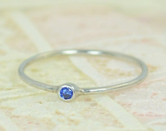 Tiny Sapphire Ring Set, Solid White Gold Wedding Set, Stacking Ring, White Gold Sapphire Ring, September Birthstone, Bridal Set, Gold
