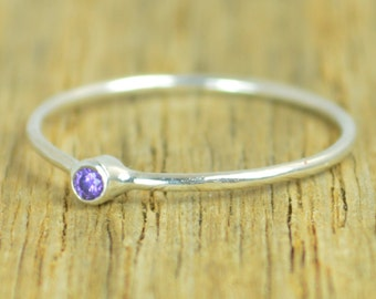 Tiny Amethyst Ring, Dainty Amethyst Ring, Amethyst Ring Silver, Amethyst Rings, February Birthstone, Minimal Amethyst, Stacking Ring, Alari