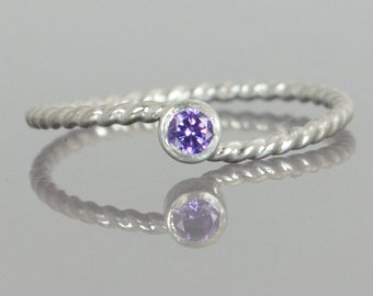 Wave Ring, Silver Wave Ring, Amethyst Mothers Ring, February Birthstone, Silver Twist Ring, Unique Mother's Ring, Amethyst Ring, Silver Ring