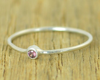 Tiny Alexandrite Ring, Silver Alexandrite, Stacking Ring, Dainty Ring, Mother's Ring, June Ring, Mom Ring, June Birthstone, Tiny Alexandrite