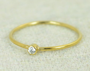 Tiny CZ Diamond Ring, Gold Filled Diamond Stacking Ring, Gold Filled Diamond Ring, Diamond Mothers Ring, April Birthstone, Diamond Ring