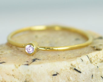 Tiny Pink Tourmaline Ring, Solid Gold Tourmaline Ring, Pink Tourmaline Stacking Ring, Pink Mothers Ring, October Birthstone, Tourmaline Ring