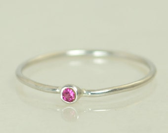 Tiny Ruby Ring, Ruby Stacking Ring, White Gold Ruby Ring, Ruby Mothers Ring, July Birthstone, Ruby Ring, Dainty Ruby, Dainty Solid Gold Ring