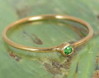 Tiny CZ Emerald Ring, Soild 14k Rose Gold Emerald Stacking Ring, Green Emerald Ring, Emerald Mothers Ring, May Birthstone, Emerald Ring