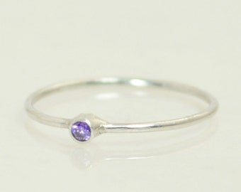 Tiny Amethyst Ring, White Gold Amethyst Stacking Ring, Amethyst Ring, Amethyst Mothers Ring, February Birthstone, Amethyst Rings, Solid Gold