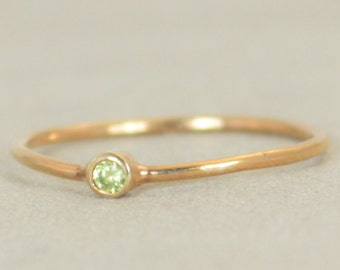 Tiny Peridot Ring, Peridot Ring, Filled Rose Gold, Rose Gold Peridot, August Birthstone, Mother's Ring, Gold Ring, Stacking Ring, Alari