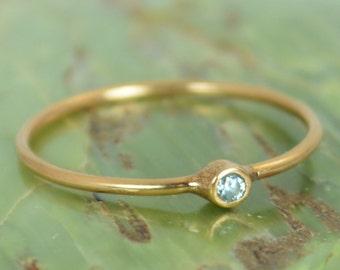 Tiny Aquamarine Ring, Solid 14k Rose Gold Aquamarine Stacking Ring, Solid Gold Aquamarine Ring, Mothers Ring, March Birthstone, Aquamarine
