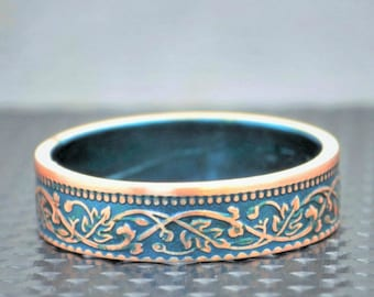 Turquoise Wreath Coin Ring, India-British Coin, Turquoise Ring, Coin Ring,Bronze Ring,Unique BoHo Ring, Dainty Ring, Women's,8th anniversary